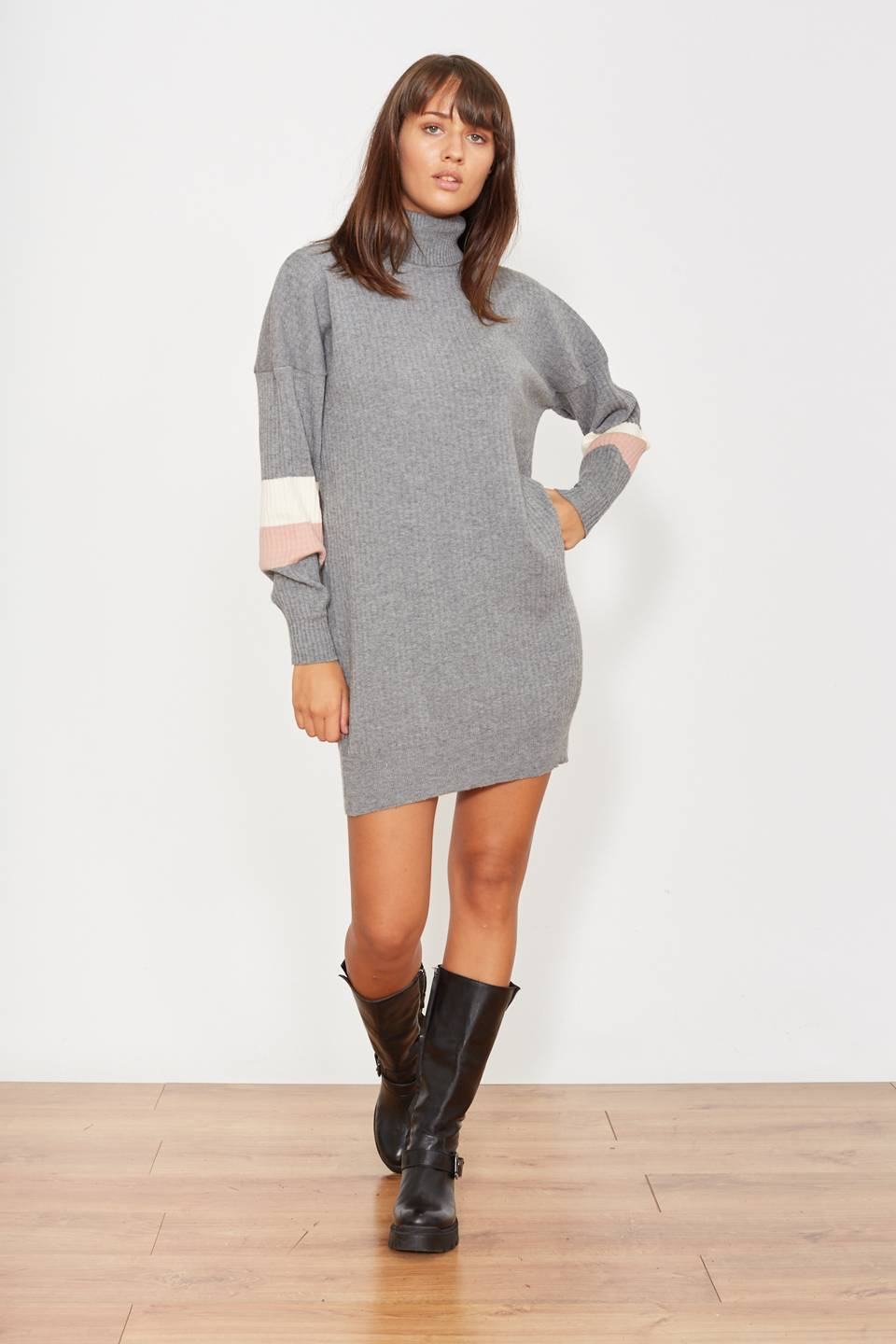 Mini-dress ciclista grigio rosa/panna - Autunno 2019 - Inverno 2020 | Brend
